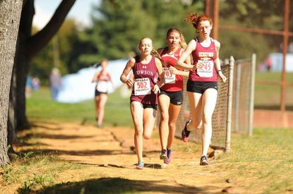 From left, Towson's Johanna Admiraal, Dulaney's Kristin Meek and Hereford's Sarah Coffey all finished in the top five at last year's Barnhart Invitational. All three will be at Dulaney High School on Saturday for the girls varsity race, which begins at 10 a.m.