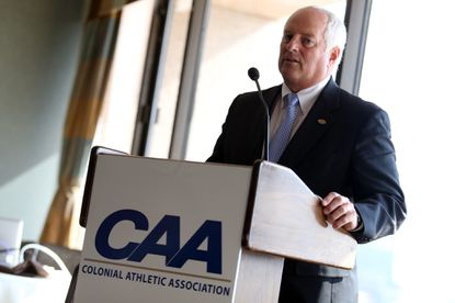 Baltimore, MD 102114 Photo by Matt Hazlett Commissioner Tom Yeager of the Colonial Athletic Association speaks during the CAA media day at The Center Club in Baltimore on Tuesday Oct. 21, 2014 No Mags, No Sales, No Internet, No TV