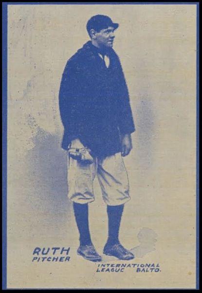 Baseball card depicting Ruth as a Baltimore Oriole, 1914 1914 Babe Ruth baseball card as minor leaguer.