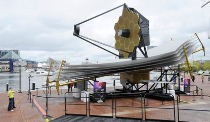 A full-sized replica of NASA's James Webb Space Telescope, is on display outside the Science Center through Oct. 26.