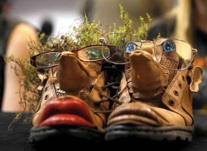 """""""Shoes,"""" by Century High School's Carly Ellis received first place in the Use of Materials category during the Maryland Department of the Environment's 13th annual Rethink Recycling sculpture contest."""