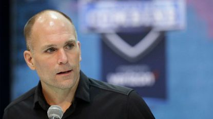 Ravens general manager Eric DeCosta speaks during the NFL scouting combine in Indianapolis in February 2019.