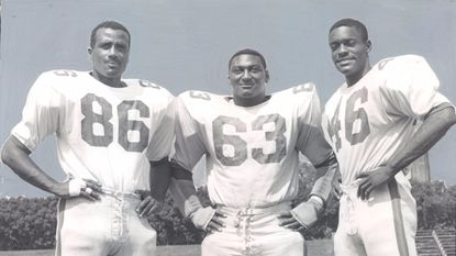 Gerald Boyd, Thomas Dean and Edward Hayes of the 1967 Morgan State football team that went undefeated.