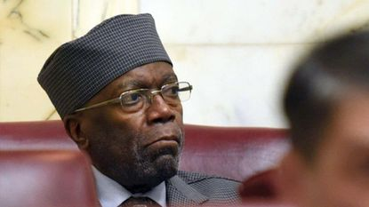 Annapolis, MD--January 10, 2018--Senator Nathaniel Oaks sits in his seat in the rear of the Senate chamber on the first day of the 2018 legislative session at the State House. Barbara Haddock Taylor