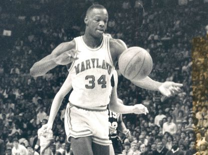 Maryland forward Len Bias pursues the ball during Notre Dame in 1985.
