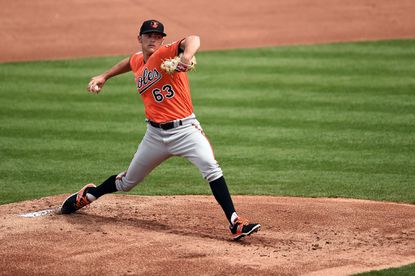 Orioles pitcher Tyler Wilson throws during the first inning of a spring training game against the Minnesota Twins at Hammond Stadium on March 5, 2016 in Fort Myers, Fla.