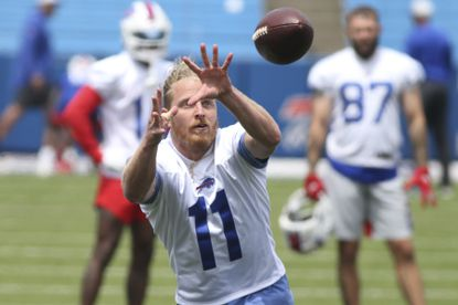Buffalo Bills wide receiver Cole Beasley (11) makes a catch during NFL football practice in Orchard Park, N.Y., Wednesday June 2, 2021. He recent announced that he'd rather retire than get vaccinated for COVID-19. (AP Photo/Jeffrey T. Barnes).