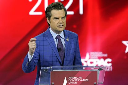 U.S. Rep. Matt Gaetz, R-Fla.,, speaks at the Conservative Political Action Conference (CPAC) Friday, Feb. 26, 2021, in Orlando, Florida. He is now reportedly under investigation in a case involving sex trafficking of a minor. (AP Photo/John Raoux)