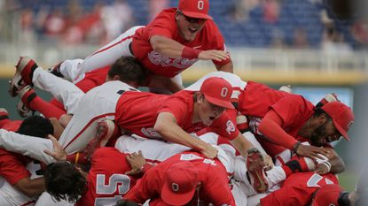 Ohio State players celebrate following the last out against Nebraska in the Big Ten baseball championship game in Omaha, Neb., Sunday, May 26, 2019.