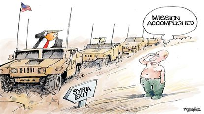 The U.S. exit from Syria has long been part of Vladimir Putin's plan, says cartoonist Bill Bramhall.