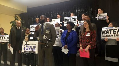 Del. Nick Mosby speaks Jan. 7, 2019, about legislation banning the city from placing properties in tax sale over water debt.