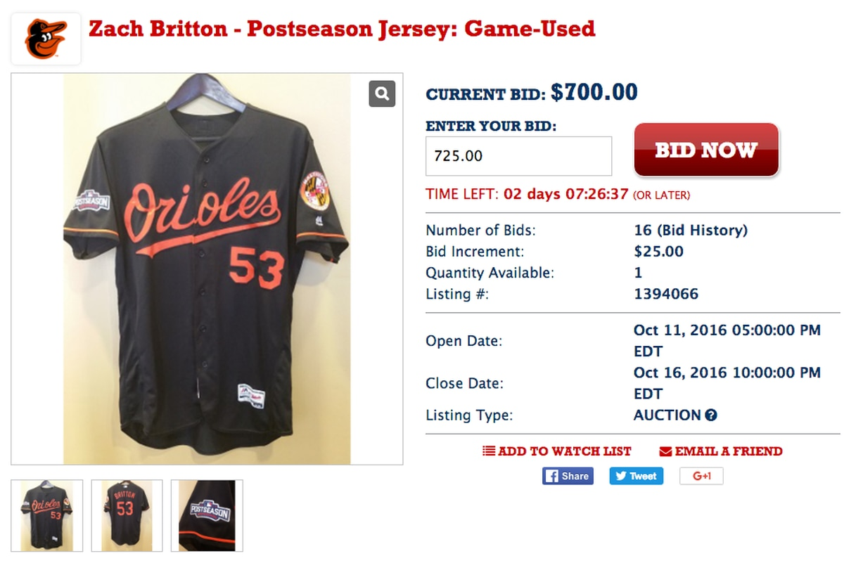 quality design e9f7d d4b7d Zach Britton's 'game-used' playoff jersey up for auction ...
