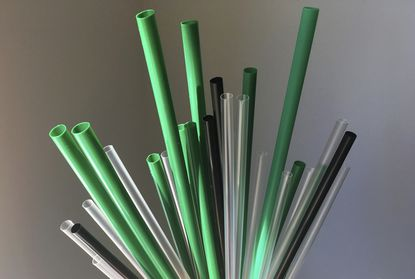 This May 23, 2018 file photo shows plastic drinking straws in New York. A ban on plastic straws, stirrers and cotton buds came into force in England on Thursday Oct. 1, 2020, after a six-month delay caused by the coronavirus pandemic. (AP Photo/Barbara Woike, File)