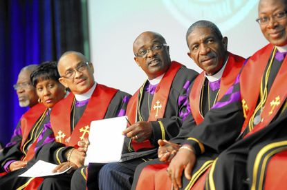 Fourth from left, Bishop James Walker, Seventh Episcopal District, Christian Methodist Episcopal Church during the Closing Service of the 38th General Conference of The Christian Methodist Episcopal Church. From left to right are Bishops Godwin Umoette, Teresa Snorton, Sylvester Williams, Sr., James Walker, Kenneth Carter and Thomas Brown, Sr.