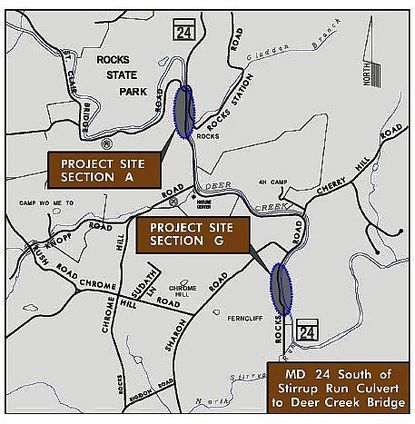 The State Highway Administration is moving ahead with a long-delayed project to reconstruct portions of Route 24 - Rocks Road - through Rocks State Park. Work in Section A, above, could begin as early as mid-May.