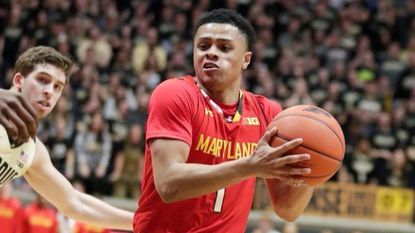 Maryland guard Anthony Cowan Jr. (1) drives against Purdue during the first half of the NCAA college basketball game in West Lafayette, Ind., Dec. 6, 2018.