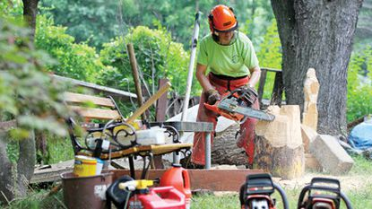 Carver Evelyn Mogren works on a wood carving at her home in Thunder Hill.