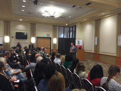 Dr. Jay Perman, president of the University of Maryland Balitmore, speaks at a townhall event on the bill to partner with the University of Maryland College Park.