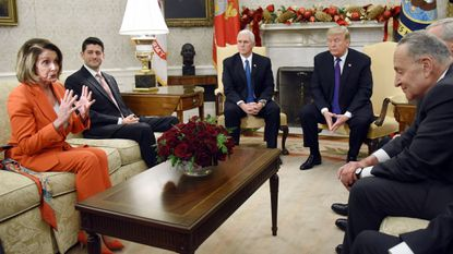 President Donald Trump and Vice President Mike Pence meet with congressional leadership at the White House on Thursday.