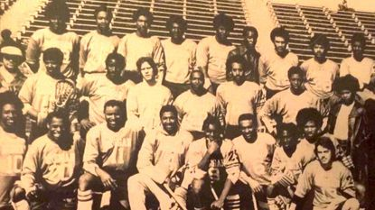 The 1975 Morgan State lacrosse team poses for a photo. The 1975 Bears finished 10-4 and ranked 11th in the Division II poll, having beaten Division I No. 1 Washington & Lee, 8-7.