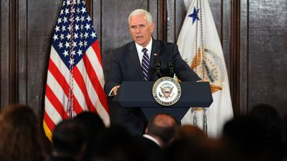 Vice President Mike Pence gives a speech and presents an award at a luncheon for the Hispanic American Police Command Officers Association, which was held at the Grand Hotel this afternoon.