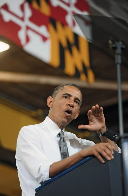 President Barack Obama speaks in Baltimore in May 2013.