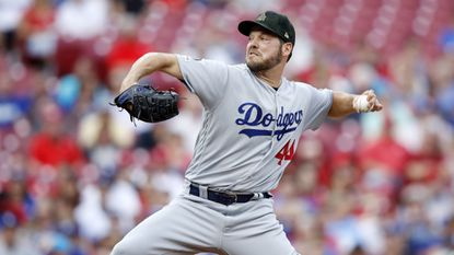 Dodgers starter Rich Hill delivers during the first inning against the Cincinnati Reds on May 17.