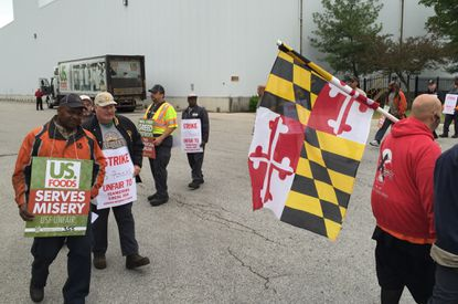 Workers represented by the Teamsters union went on strike Wednesday at the US Foods distribution warehouse in Severn, which the company announced earlier in April is closing.