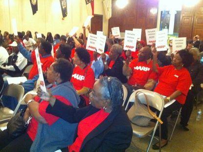 Members of AARP Maryland attended the Maryland Public Service Commission's public hearing Tuesday night about Baltimore Gas and Electric Co.'s response to Hurricane Irene.