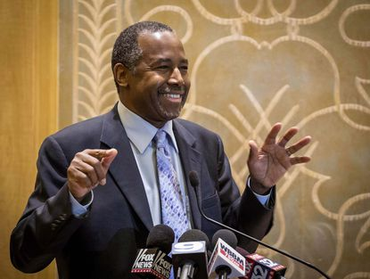 Republican presidential candidate Ben Carson takes questions from reporters Thursday at the Peninsula Hotel in Chicago after a roundtable meeting with pastors.Carson threatened Friday to leave the Republican Party amid reports of deepening concerns from GOP officials about the splintered 2016 electorate.