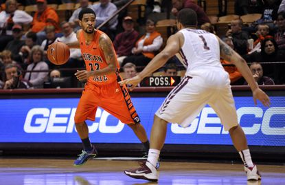 Morgan State guard Blake Bozeman looks to pass during a recent game at Virginia Tech.