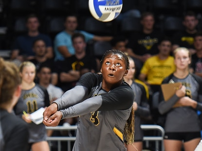 UMBC volleyball player Kamani Conteh returns a ball during a match against Lafayette in 2019.