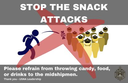 A flyer asking people not to throw candy at U.S. Naval Academy Midshipmen before home football games.