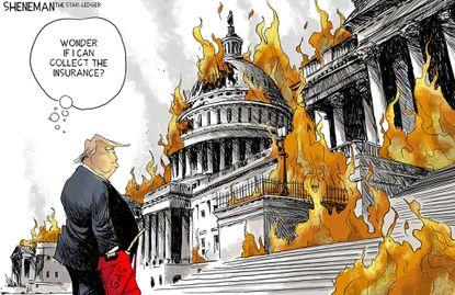 Donald Trump burns. (Drew Sheneman).