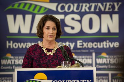 Courtney Watson speaks at the podium during her campaign announcement to run for Howard County executive at Kahler Hall in Columbia on Saturday, Sept. 21.