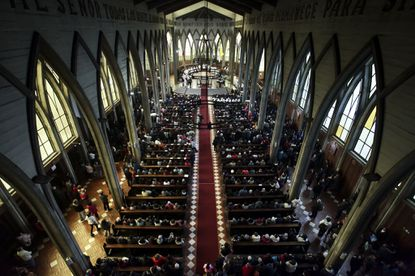 The Catholic Church officiates a reconciliation mass which seeks to bring together all sectors of the community that had become divided following the Chilean abuse scandal, at the San Mateo cathedral of Osorno, Chile, Sunday, June 17, 2018.