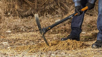 Mattock heads can work loose over time — especially those on wooden handles, which swell and shrink with the seasons. Give it a quick check before you start work to avoid accidents.