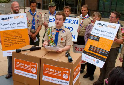 Pascal Tessier, a gay Eagle Scout from Montgomery County, delivered more than 120,000 signatures to online retailer Amazon in Seattle on Wednesday, calling on the company to halt charitable donations to the Boy Scouts of America because of the organization's ban on gay leaders.