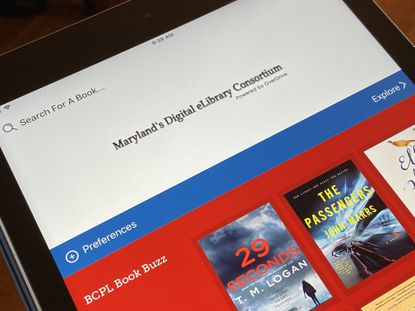 The Libby app, which gives Maryland readers access to the state's Digial eLibrary Consortium, displayed on an iPad.