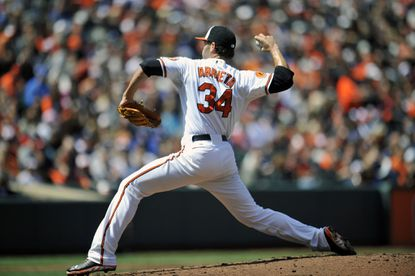 Jake Arrieta gave up five earned runs in four innings in the Orioles' 7-4 loss to the Dodgers.
