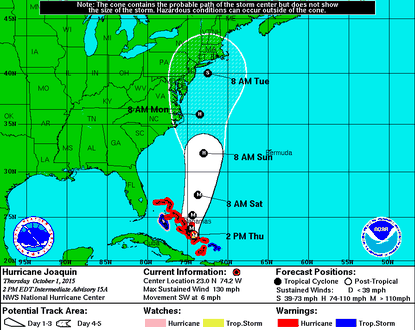 European model that nailed Sandy shows Joaquin going out to sea
