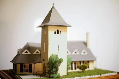Last year, Mike Pfeifer created a model of Chestnut Grove Presbyterian Church, shown here, for the train garden at the Jacksonville Senior Center.
