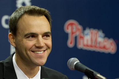 FILE - In this Oct. 26, 2015, file photo, Philadelphia Phillies incoming general manager and vice president Matt Klentak smiles during a news conference in Philadelphia. Manager Pete Mackanin starts his first full season after replacing Ryne Sandberg last summer and new general manager Matt Klentak begins his first spring with the team. (AP Photo/Matt Rourke, File)