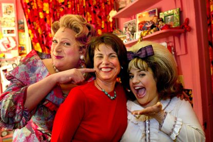 "Margo Lion, center, the lead producer of the Broadway musical ""Hairspray,"" with the show's stars Harvey Fierstein, left, and Marissa Jaret Winokur in Fierstein's dressing room at the Neil Simon Theater in New York, on Sept. 27, 2002. Lion, a theater producer who was largely responsible for bringing ""Jelly's Last Jam"" and ""Hairspray"" to Broadway and played a major role in other important shows, including ""Angels in America,"" died on Friday, Jan. 24, 2020, in Manhattan. She was 75."