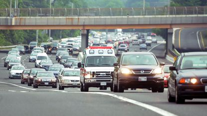 Commuters pack the southbound lanes of the Jones Falls Expressway on Friday morning.