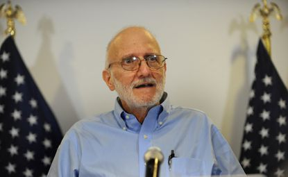 Alan Gross speaks to the press after being released from a Cuban prison.