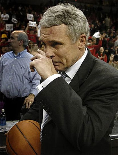 Above, an emotional Gary Williams contemplates his 349th career victory at Maryland in 2006. On Dec. 27, 1997, Williams won his 150th game as Maryland's basketball coach in a rout, 74-36 over UNC-Wilmington at Cole Field House.