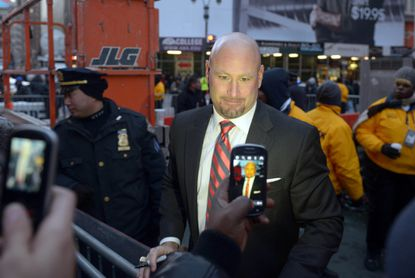 ESPN's Trent Dilfer poses for fans at Super Bowl Boulevard on Broadway in advance of Super Bowl XLVIII.