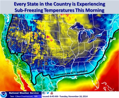 A graphic from the National Weather Service depicts sub-freezing temperatures measured across the entire continental United States.