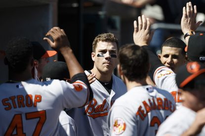 Baltimore Orioles designated hitter Chris Davis (19) receives congratulations from teammates after hitting a two-run home run against the Detroit Tigers in the ninth inning at Comerica Park.